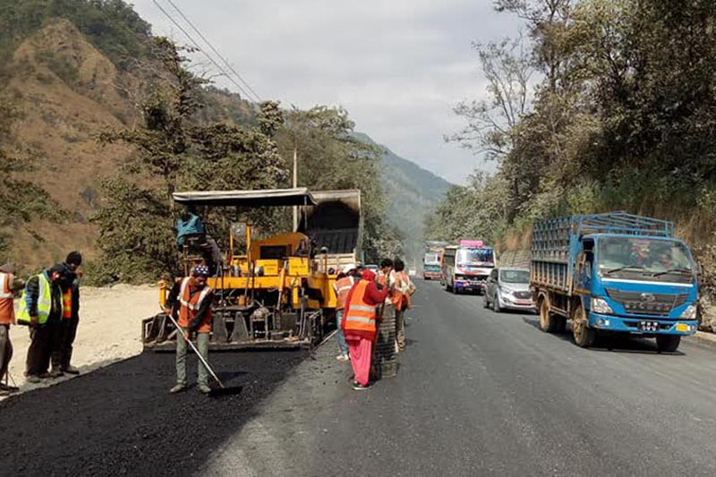 Road widening work being carried out on the Narayangadh-Muglin road, in Chitwan, on Monday, December 18, 2017. Photo: THT
