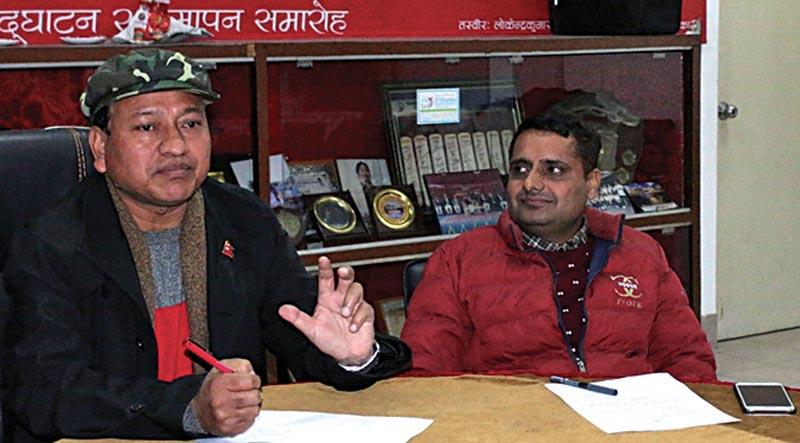 National Sports Council Member Secretary Keshab Kumar Bista (left) speaks as press Advisor Rohit Dahal looks on during a press meet in Lalitpur on Saturday. Photo: THT