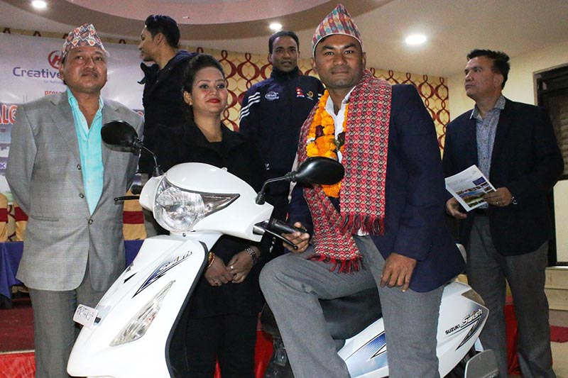National cricketer Mahesh Chhetri poses for a photo after being felicitated with the Nepalgunj Sports Honour in Kathmandu on Friday, December 1, 2017. Photo: THT