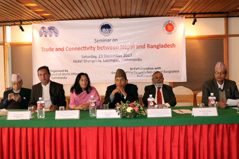 Delegates from Nepal and Bangladesh participate in a seminar organised in Kathmandu, on Saturday, December 23, 2017. Photo: RSS