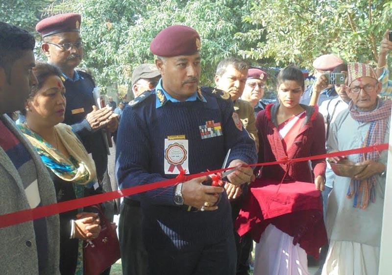 Nepal Police AIG Bijayalal Kayastha inaugurating a newly-constructed building of Kanchanpur Area Police Office, in Saptari, on Monday, December 25, 2017. Photo: THT