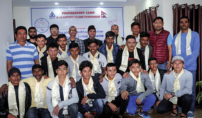 Nepal U-16 national cricket team members with coaches and officials at a programme in Kathmandu on Friday. Photo: THT