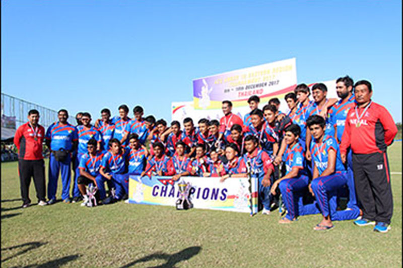 Nepal U-16 team along with other officials pose for a portarit after winning the ACC U-16 title in Bangkok, on Sunday, December 17, 2017. Courtesy: ACC