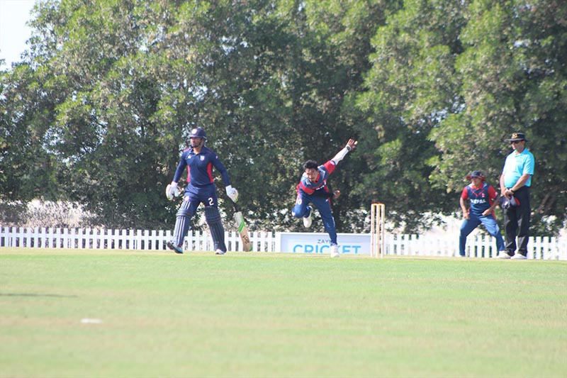 Players of Nepal and the United States of America (left) in action during their practice match in Abu Dhabi on Friday, December 1, 2017. Photo courtesy: Raman Shiwakoti