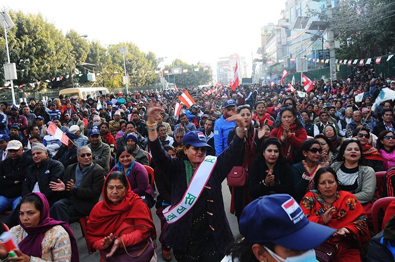 Supporters of the Nepali Congress participating in an election rally in New Baneshwor, Kathmandu, on Sunday, December 3, 2017. Photo: Balkrishna Thapa Chhetri