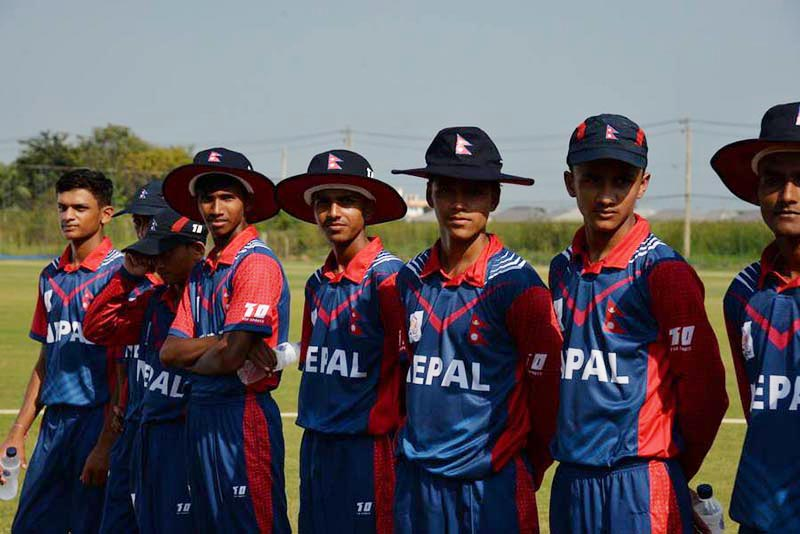 Nepal youth team members attend the presentation ceremony after beating Thailand in the ACC U-16 Eastern Region Tournament match at the Terdthai Cricket Ground in Bangkok on Monday, December 11, 2017. Photo courtesy: Thailand Cricket Association