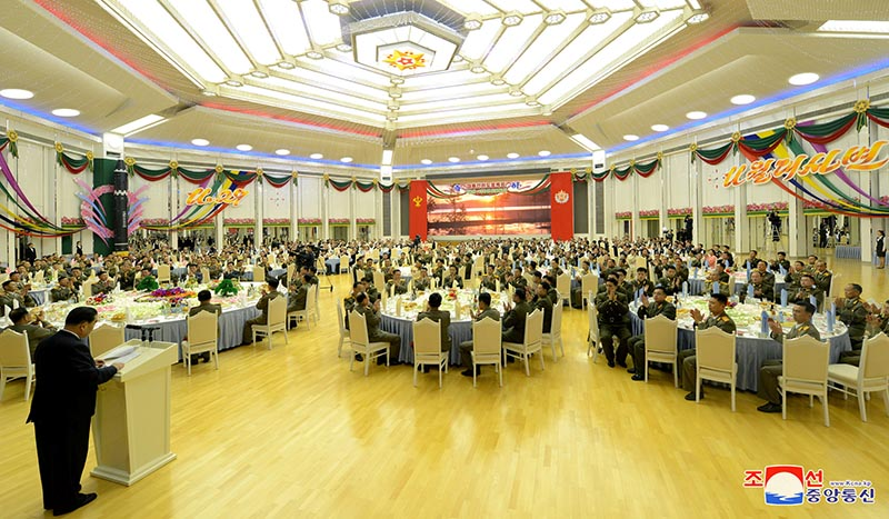 The Central Committee of the Workers' Party of Korea hosts a reception in honour of the contributors of the successful test-fire of intercontinental ballistic missile (ICBM) Hwasong-15 in this photo released by North Korea's Korean Central News Agency (KCNA) in Pyongyang December 13, 2017.  Photo: KCNA/via Reuters