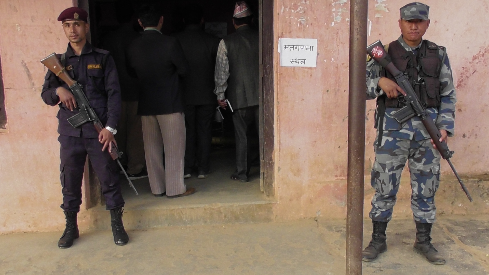 Security personnel stand guard at the entrance of counting venue in Phidim, Panchthar, on Friday. Photo: Laxmi Gautam