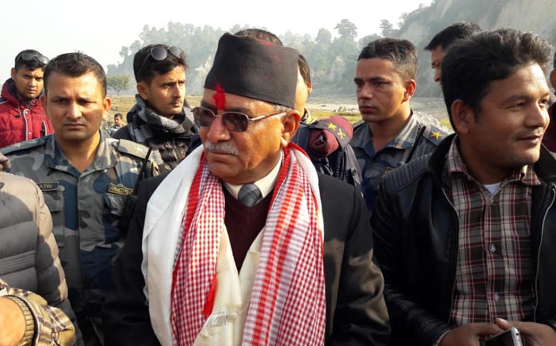 CPN-MC Chairperson Pushpa Kamal Dahal in Thori for inspection of the Nepal-India border, in Parsa, on Monday, December 25, 2017. Photo: THT