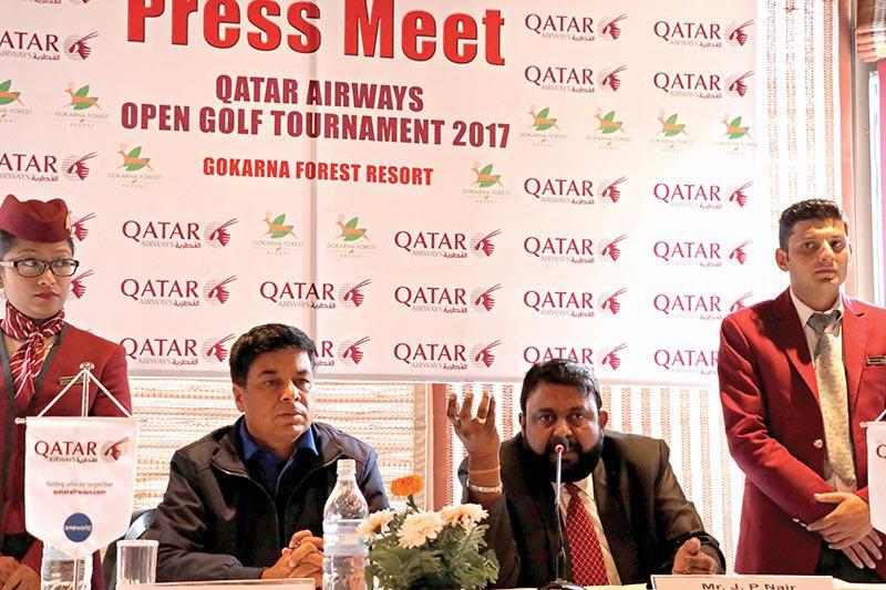 Country Manager of Qatar Airways JP Nair speaks as Senior Golf Director of Gokarna Forest Resort Deepak Acharya looks on during a press meet in Kathmandu on Tuesday. Photo: THT