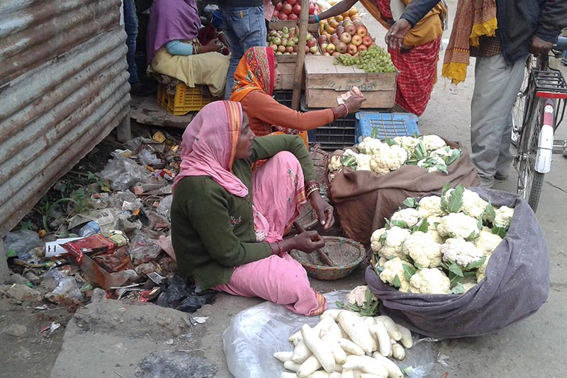 A vegetable vendor waits for customers in Hatiya, Rajbiraj Municipality of Saptari district on Tuesday, December19, 2017. The woman sits close to the waste dumped by the roadside. Photo: Byas Shankar Upadhyay/THT