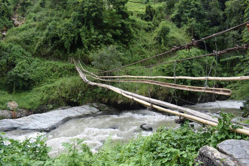 A view of a dilapidated makeshift bridge over  Koyakhola that links Thoklung of Aath Rai Rural Municipality-7 and Ishibu of Fedap Rural Municipality-5, in Teherathum district, on Tuesday, December 19, 2017