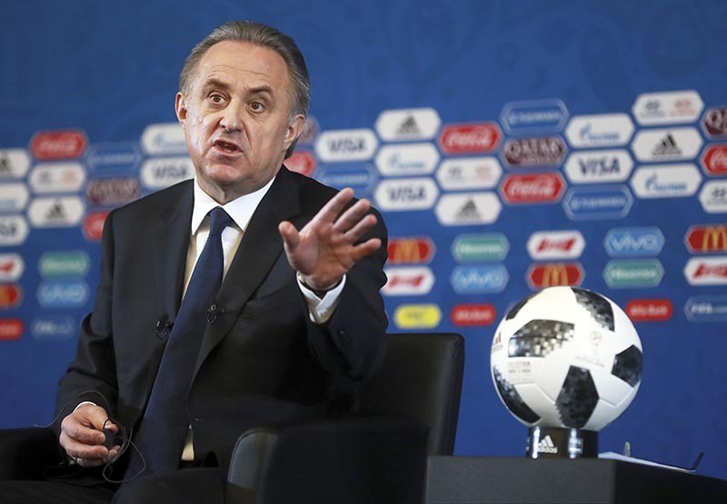 Vitaly Mutko, Russian Federation Deputy Prime Minister & Local Organising Committee Chairman gestures during a press conference ahead of the 2018 soccer World Cup draw in the Kremlin in Moscow, on Friday December 1, 2017. Photo: AP