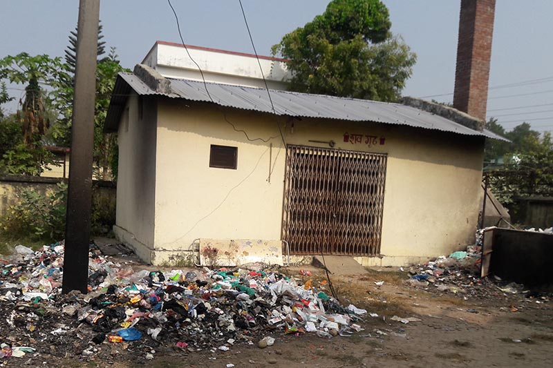 Seti Zonal Hospital turning into a dumping site due to weak management, in Dhangadi, Kailali, on Monday, December 11, 2017. Photo: THT