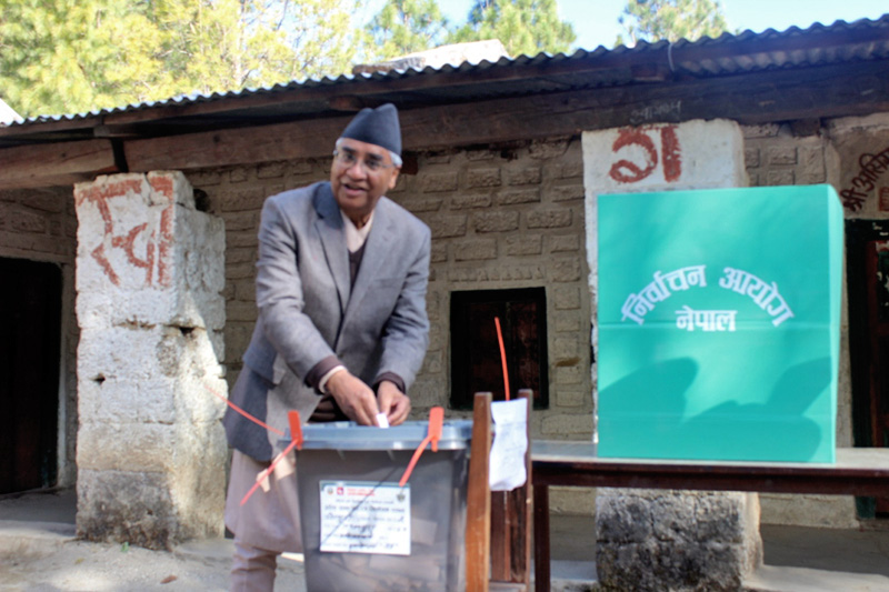 Prime Minister SHer Bahadur Deuba casts his vote for the provincial and parliamentary elections in Dadaeldhura, on Thursday, December 7, 2017. Photo:Baburam Shrestha