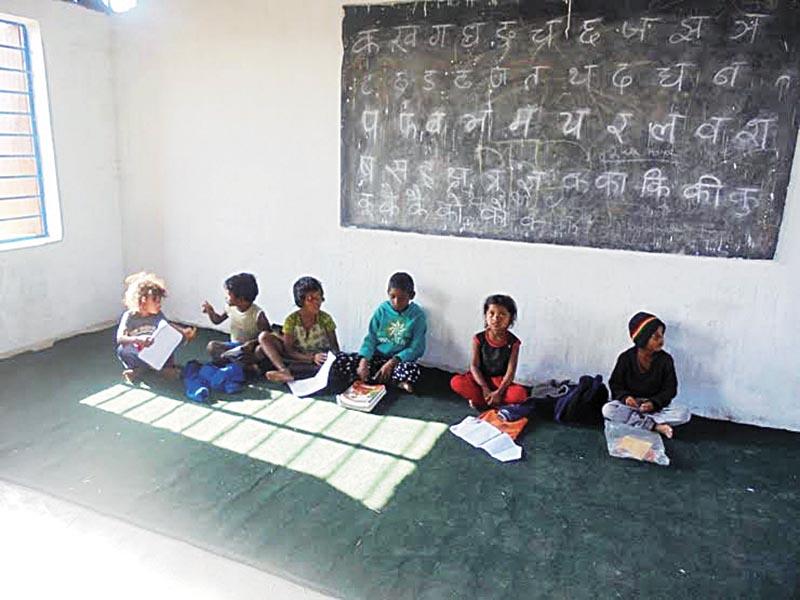 Children attending class at Panwari Foundation School, in Siraha. Photo: THT