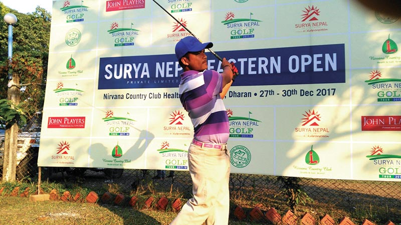 Tanka Bahadur Karki plays a shot during the second round of the Surya Nepal Eastern Open in Dharan on Thursday. Photo: THT