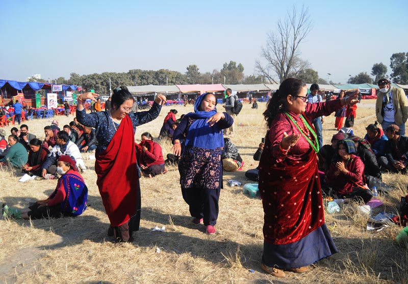 Women from the Gurung community dancing at a programme held on the eve of Tamu Lhosar festival, in Kathmandu, on Friday. Photo: THT