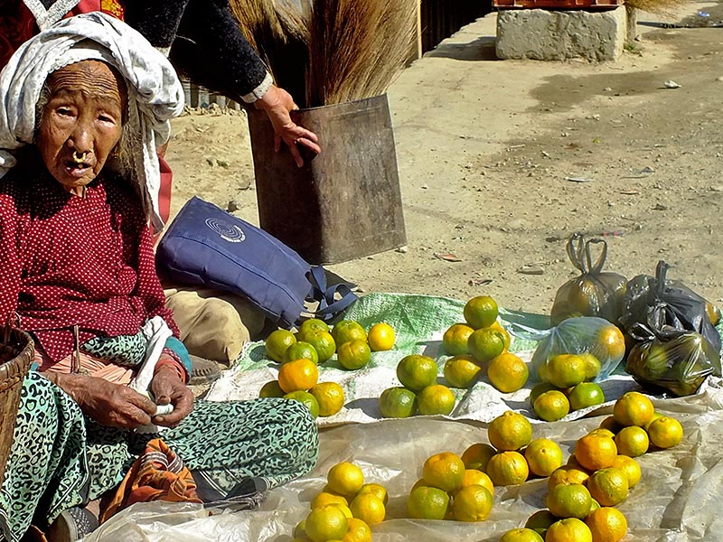 An ederly woman is seen selling oranges, in Old Bank Line, of Phungling Municipality in Taplejung district, on Saturday, December 2, 2017. Photo: RSS