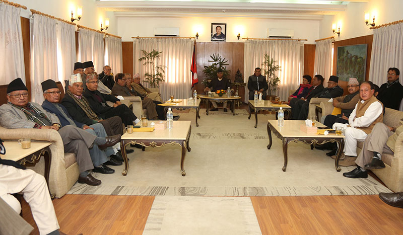 Prime Minister and Nepali Congress President Sher Bahadur Deuba holds Nepali Congress' Central Work Execution Committee with its members at at Prime Ministeru2019s official residence, in Baluwatar, Kathmandu, on Friday, December 29, 2017. Photo: RSS
