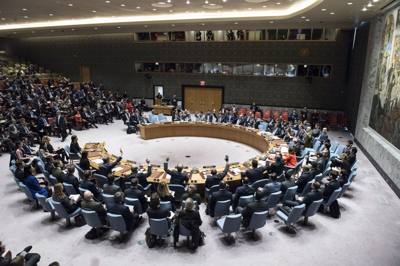 The Security Council votes on a resolution concerning Jerusalemu2019s status at United Nations headquarters, on December 18, 2017, Monday. Photo: APnn
