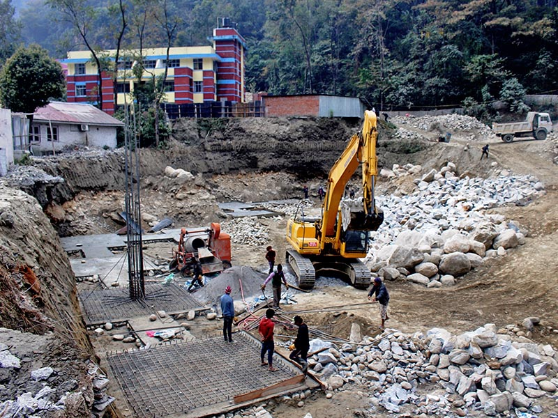 The construction site of the Beni Hospital in Beni, district headquaters of Myagdi district, on Wednesday, December 13, 2017. The constructed hospital will have the capacity of 50 patient beds. Photo: RSS