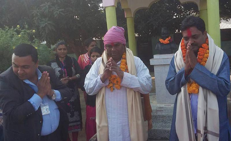 Chair of Federal Socialist Forum-Nepal Upendra Yadav (centre) being felicitated at Narendra Memorial High School, in Saptari, on Thursday, December 14, 2017. Photo: THT