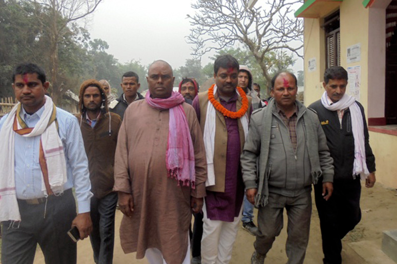 Federal Socialist Forum Nepal Chair Upendra Yadav, along with other candidates, organise a door-to-door campaign to thank voters in Rajbiraj of Spatari district, on Monday, December 18, 2017. Photo: Byas Shankar Upadhyay