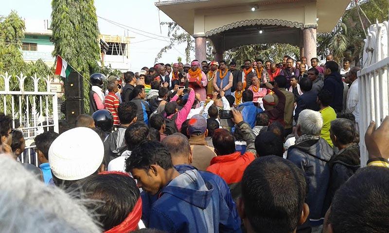 Chairman of Federal Socialist Forum-Nepal Upendra Yadav addressing a mass gathering organised by the Madhesi nalliance in Rajbiraj, Saptari, on Tuesday, December 12, 2017. Photo: THT