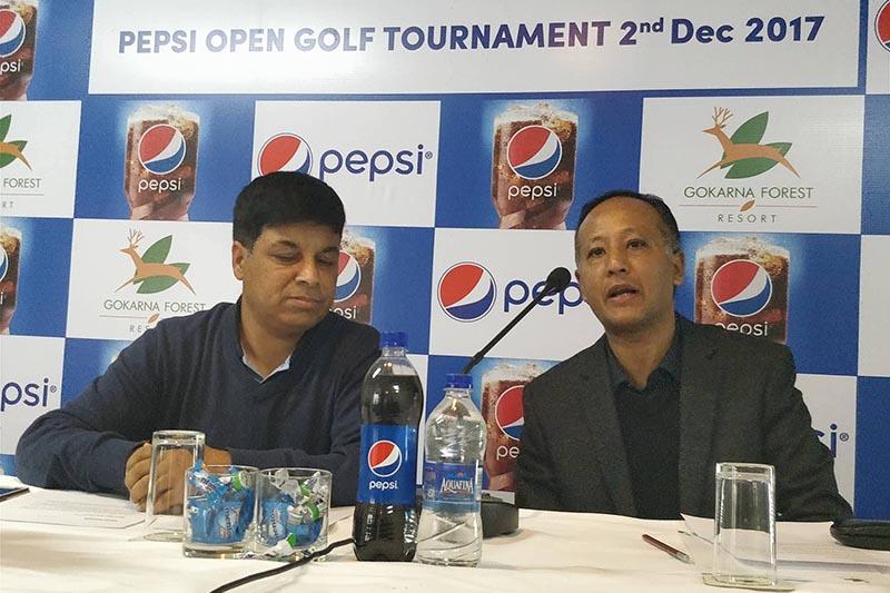 Market Development Manager of Varun Beverages, Sushil Ratna Tuladhar speaks as Senior Golf Director of Gokarna Golf Club Deepak Acharya (left) looks on during a press meet in Kathmandu, on Friday, December 1, 2017. Photo: THT