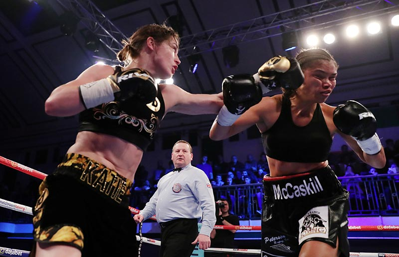 Katie Taylor in action against Jessica McCaskill during WBA Women's World Lightweight Title match between Katie Taylor and Jessica McCaskill, at York Hall, Bethnal Green, in London, Britain, on December 13, 2017. Photo: Action Images via Reuters