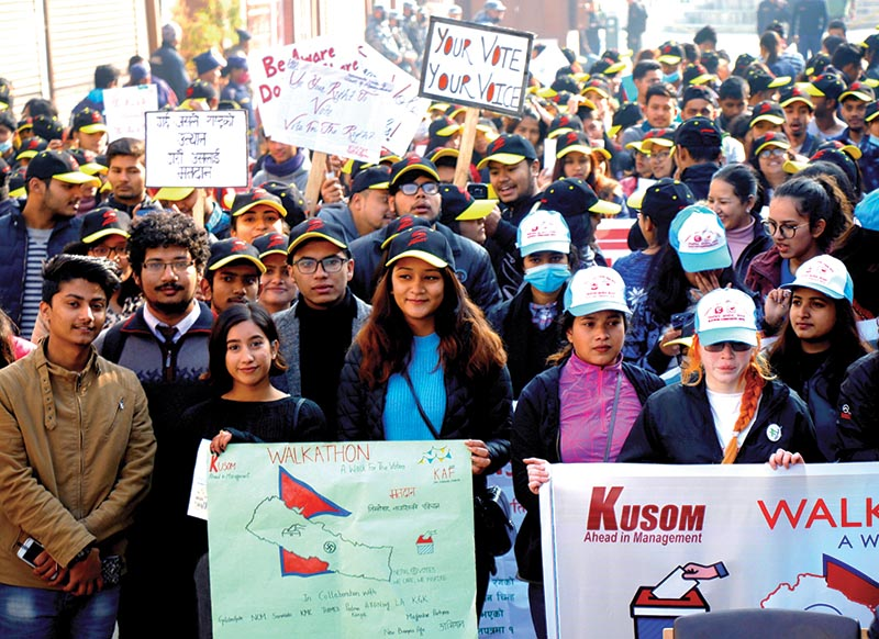 Students from different colleges participating in a walkathon organised to raise awareness of voting rights ahead of the second phase of provincial and parliamentary elections, in Kathmandu, on Saturday. Photo: THT