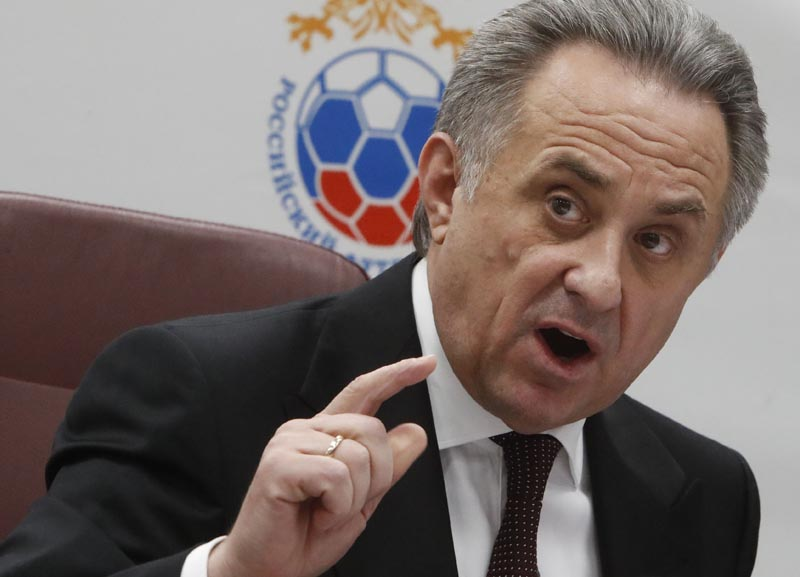 Russian Deputy Prime Minister Vitaly Mutko speaks during a news conference after the Russian Football Union's executive committee meeting in Moscow, Russia December 25, 2017. Photo: Reuters