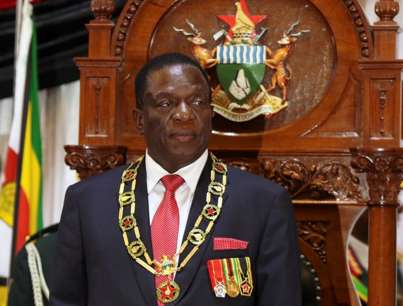 FILE PHOTO: Zimbabwean President Emmerson Mnangagwa looks on after delivering the State of the Nation Address (SONA) in Harare, Zimbabwe, December 20, 2017. Photo: Reuters