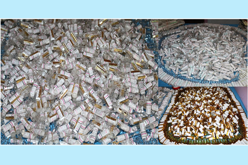 Police display the confiscated controlled pharmaceutical drugs in Kathmandu, on Wednesday, December 20, 2017. Photo: NCB