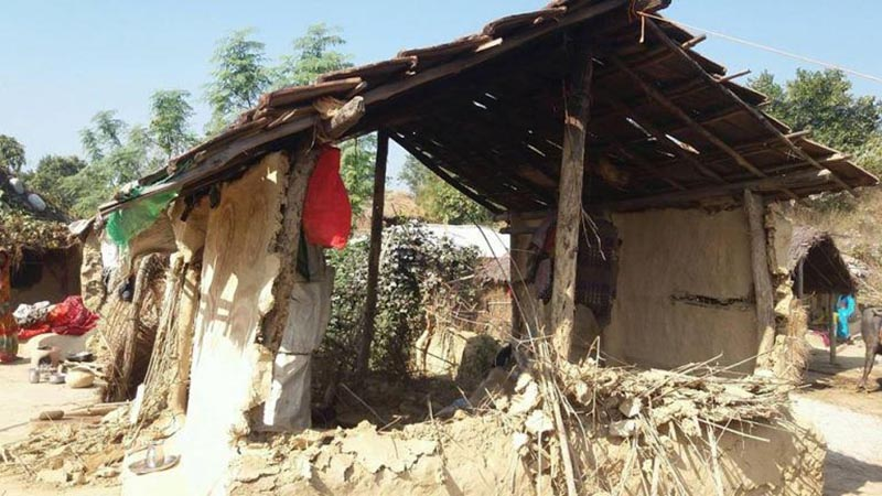A view of a hut damaged by tuskers in Golbazaar Municipality, Siraha, on Friday, December 29, 2017. Photo: THT