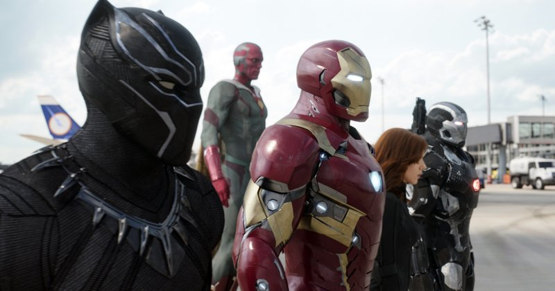 From left, Chadwick Boseman as Panther, Paul Bettany as Vision, Robert Downey Jr. as Iron Man, Scarlett Johansson as Natasha Romanoff, and Don Cheadle as War Machine in a scene from u201cMarvelu2019s Captain America: Civil War.u201d Disneyu2019s announced, that itu2019s buying most of movie goliath Fox for $52.4 billion in stock brings these once disparate franchises together. The combined company will account for more than a third of theatrical revenues in the U.S. and Canada, on December 14, 2017. Photo: APnn