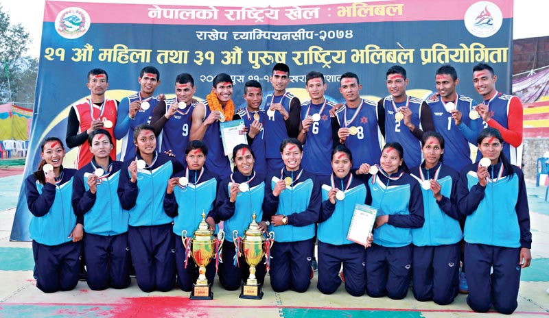 Winning teams of the 21st National Women and 31st Men Volleyball Tournament held under the NSC Championship in Pokhara on Saturday.