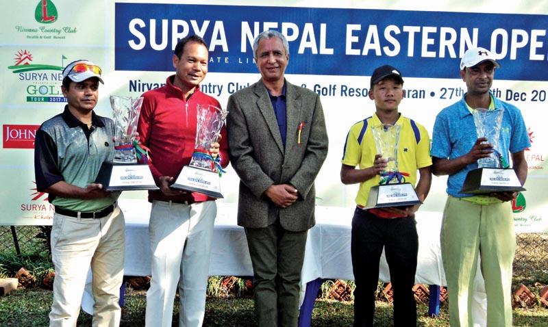 Surya Nepal Eastern Open Pro-Am winning team members with Chairman of Nirvana Country Club Sashi Ram Bhandari in Dharan on Saturday.