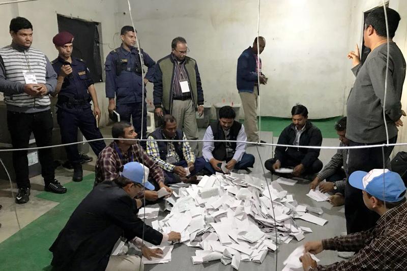 Election Officials count votes in Birgunj, on Saturday, December 9, 2017. Photo: Ram Sarraf