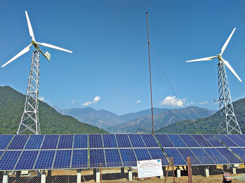 A general view of the largest wind-solar hybrid power system in Nepal during its inauguration, in Sindhuli district, on Tuesday, December 12, 2017. Photo: THT