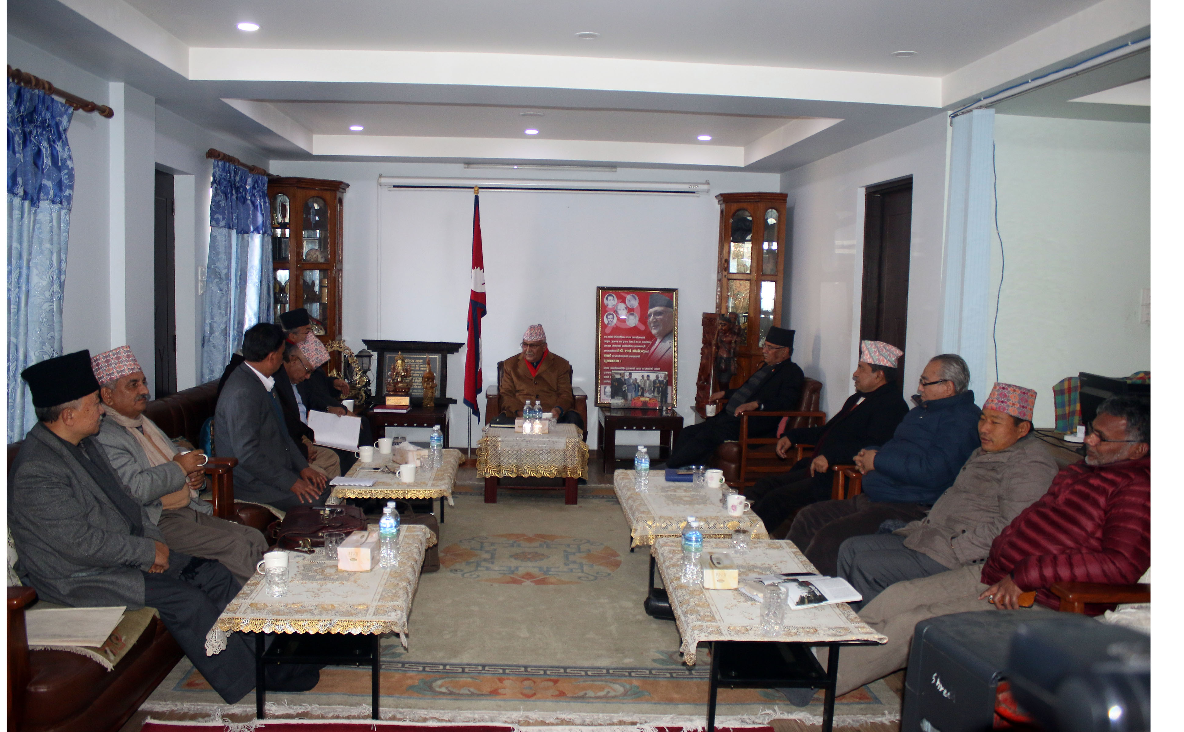 CPN-UML and CPN-MC Party unification coordination Committee meeting being held at CPN UML Chair KP Sharma Oliu2019s residence in Balkot., Bhaktapur. Photo: RSS
