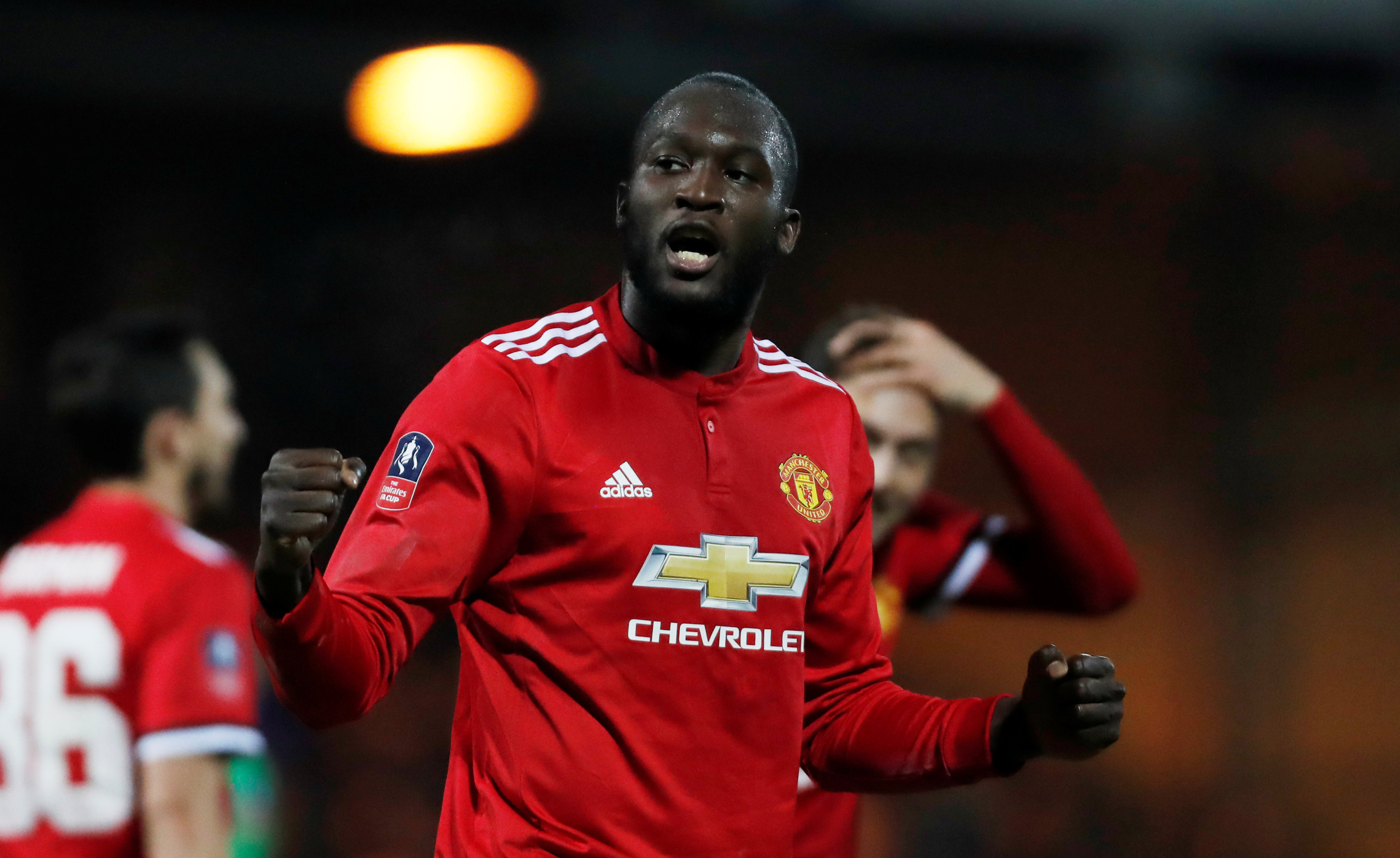Soccer Football - FA Cup Fourth Round - Yeovil Town vs Manchester United - Huish Park, Yeovil, Britain - January 26, 2018   Manchester United's Romelu Lukaku celebrates scoring their fourth goal   Action Images via Reuters/Paul Childs