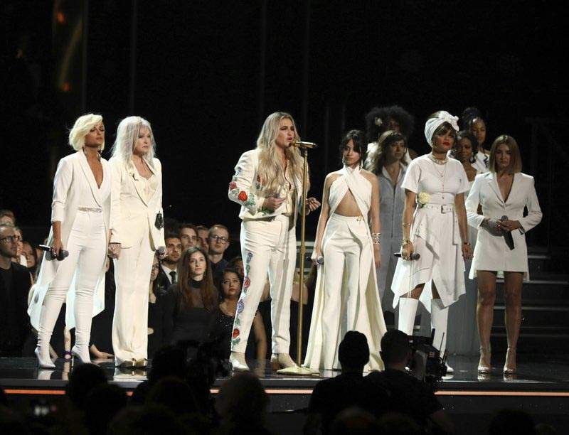 Kesha, center, performs u0093Prayingu0094 as, from left, Bebe Rexha, Cyndi Lauper, Camila Cabello, Andra Day and Julia Michaels look on at the 60th annual Grammy Awards at Madison Square Garden on Sunday, Jan. 28, 2018, in New York. Photo: AP