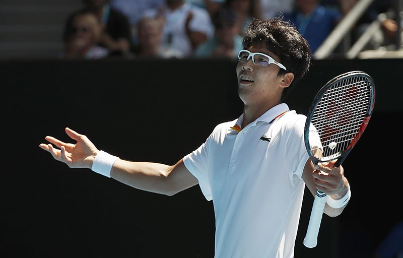 Chung Hyeon of South Korea reacts during his match against Tennys Sandgren of the US during Australian Open quarter-finals, at Rod Laver Arena, in Melbourne, Australia, on January 24, 2018. Photo: Reuters