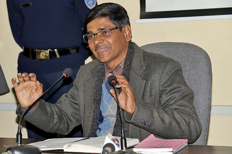 The Chief Election Commissioner Dr. Ayodhee Prasad Yadav speaks to media in Kathmandu, on Monday, January 01, 2018. Photo: RSS