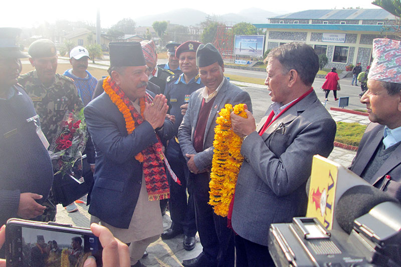 Newly appointed governor of provincial number 4, Babu Ram Kunwar being welcomed at the Pokhara Airport, on Saturday, January 20, 2018. Kunwar has asserted on tourism, hydro development and good governance in the region. Photo: Rishi Ram Baral