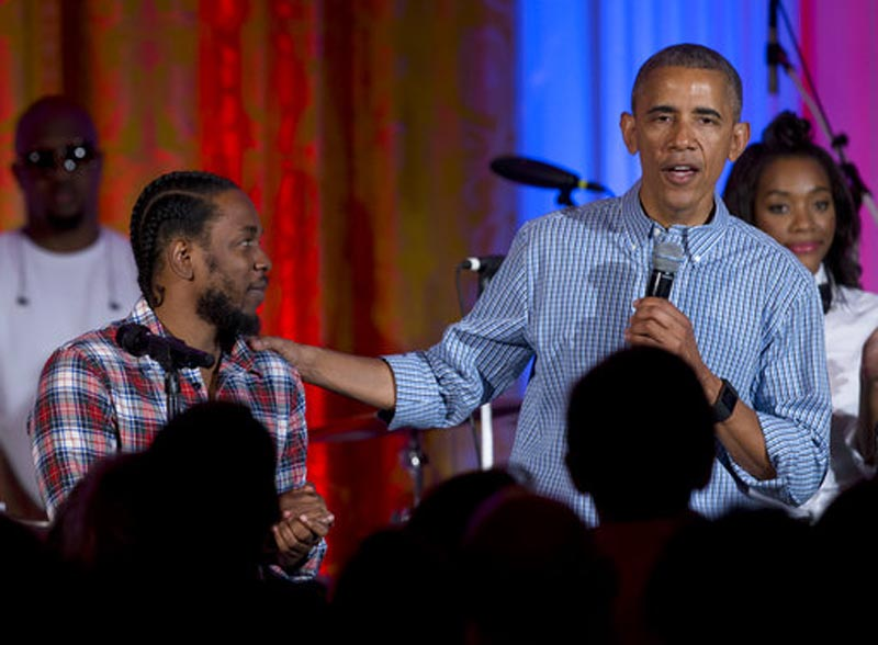 File - President Barack Obama, joined by Kendrick Lamar, speaks during an Independence Day celebration for members of the military and their families, at the White House, in Washington on July 4, 2016. Photo: AP
