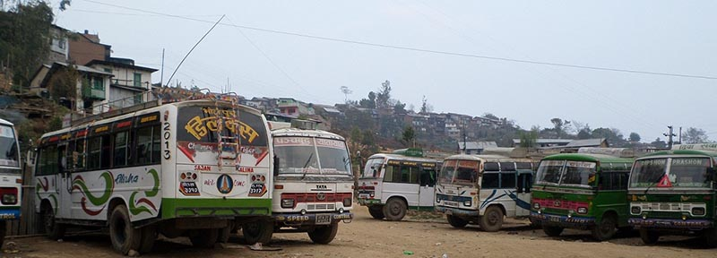 Buses parked at a bus park in Bhojpur district,on Friday, January 5, 2018. The ongoing general strike in Dhankuta has completely brought the transportation to and from the neighbouring districts to halt. Photo: Niroj Koirala/THT