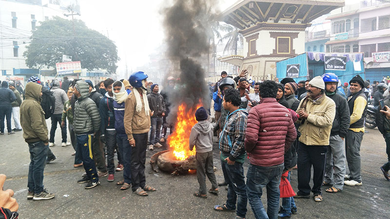 Protest going on in Birgunj as the metropolis was not declared the temporary provincial workstation of Province 2, on Thursday, January 18, 2018. Photo: Ram Sarraf